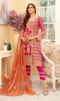 EMBROIDERED CHIFFON FRONT PANEL SIDE PANEL & SLEEVES CHIFFON BACK EMBROIDERED CHIFFON DUPATTA EMBROIDERED DAMAN PATCH TROUSER + NECK PATCH GRIP TROUSER