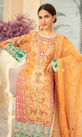 EMBROIDERED HANDMADE CHIFFON FRONT & SLEEVES EMBROIDERED CHIFFON SIDE PANEL CHIFFON BACK EMBROIDERED CHIFFON DUPATTA EMBROIDERED HANDMADE GRIP DAMAN & SLEEVE PATCHES EMBROIDERED HANDMADE TISSUE PATCH GRIP TROUSER