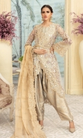 EMBROIDERED HANDMADE FRONT & SLEEVES EMBROIDERED HANDMADE FRONT & BACK BORDER EMBROIDERED BODY JAAL EMBROIDERED MESORI DUPATTA & JAMAWAR TROUSER
