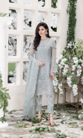 Embroidered pure chiffon front+back+sleeves Net embroidered duppata Embroidered daman border Embroidered patti Grip embroidered trouser and patch+lining Accessories