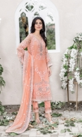 Embroidered pure chiffon front+back+sleeves Embroidered pure chiffon duppata Embroidered back border patch Embroidered patti for daman and trouser Grip trouser+lining Accessories