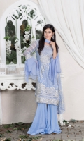 Embroidered pure chiffon front+back+sleeves Embroidered pure chiffon duppata Embroidered trouser patch Grip trouser+lining Accessories