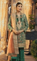 Embroidered Chiffon Front Back, Sleeves  Embroidered Masori Dupatta  Embroidered Front Back Patch  Embroidered Grip Trouser & Accessories
