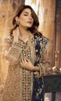 Embroidered Chiffon Front ,Back, Sleeves .Dupatta  Embroidered Front back daman Patch  Jamawar Trouser & Accessories