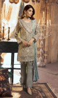 Embroidered Chiffon Front Back, Sleeves Dupatta  Embroidered Front Patti  Embroidered Back Patti And Neck Patti  Embroidered Grip Trouser & Accessories