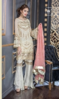 Chiffon Embroidered Front Sleeves Dupatta Chiffon Back & Patch Embroidered Front Back Daman Trouser Patti Grip Trouser