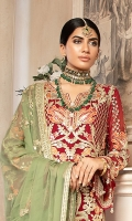 EMBROIDERED CHIFFON FRONT, BACK & SLEEVES EMBROIDERED CHIFFON DUPATTA EMBROIDERED DAMAN PATCH EMBROIDERED NECK PATTI GRIP TROUSER