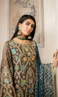 EMBROIDERED CHIFFON FRONT, BACK & SLEEVES EMBROIDERED FRONT, BACK & TROUSER PATCH EMBROIDERED NECK PATTI EMBROIDERED CHIFFON DUPATTA GRIP TROUSER