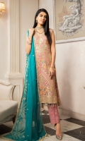 EMBROIDERED CHIFFON FRONT, BACK & SLEEVES EMBROIDERED CHIFFON FRONT & BACK BODY EMBROIDERED DAMAN PATCH EMBROIDERED CHIFFON DUPATTA GRIP TROUSER