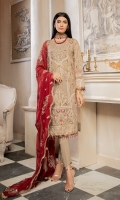 EMBROIDERED CHIFFON FRONT & SLEEVES CHIFFON BACK EMBROIDERED CHIFFON DUPATTA EMBROIDERED DAMAN PATCH GRIP TROUSER