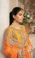 EMBROIDERED NET HANDMADE FRONT SLEEVES & BODY EMBROIDERED NET BACK EMBROIDERED HANDMADE DAMAN & SLEEVES PATCH EMBROIDERED BACK PATTI EMBROIDERED CHIFFON DUPATTA GRIP TROUSER