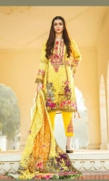 Digital printed Viscose Shirt – 3mtr Digital jacquard Viscose dupatta – 2.5mtr Dyed trouser – 2.5mtr