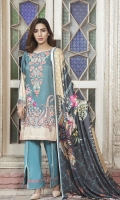 Embroidered Digital Printed Viscose Shirt Digital Printed Sleeves Digital Printed Shawl Dyed Trouser Embroidered Border (1 mtr)