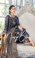 EMBROIDERED & HAND EMBELLISHED CHIFFON FRONT EMBROIDERED CHIFFON BACK & SIDE PANEL EMBROIDERED CHIFFON SLEEVES EMBROIDERED HEM BORDER EMBROIDERED SLEEVES BORDER DYED ZARI ORGANZA DUPATTA DYED GRIP TROUSER