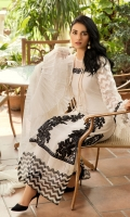 A rhapsody of black and white merges effortlessly with incandescent floral embroideries. Embellished meticulously with crystalline ornamental patterns with luxurious trim and intricate embellishments that add phenus with shimmery glamour.  Fabric: 100% Premium Cotton Net and premium organza made to the highest standards of quality synonymous to Nilofer Shahid.