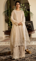 'Rumi's Delight' is a perfectly handcrafted Asymmetrical ensemble accompanied by a pure organza dupatta with lace embellishments on each side and vivacious flared pants made from crushed chiffon creating a comfortable yet statement-making ensemble.  Fabric: 100% Pure Cotton Masuri made to the highest standards of quality synonymous to Nilofer Shahid
