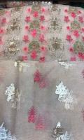 Emb jaal shirt, Sleeves emb booti, Back emb booti, Dupatta emb bootti and silk trouser