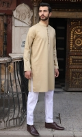 100% Cotton jacquard dark beige kurta.