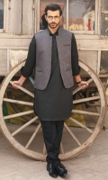 100% Cotton jacquard grey waist coat.