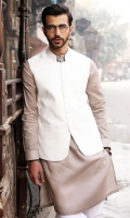 100% Cotton jacquard white waist coat.