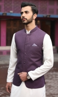 100% Cotton jacquard purple waist coat.