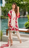 Chiffon Front Embroidered Chiffon Front Embroidered Lace Chiffon Printed Dupatta Trouser Dyed