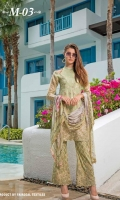 Chiffon Front Embroidered Front Embroidered Lace Chiffon Back Embroidered Chiffon Printed Dupatta Trouser Dyed