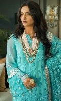 Chiffon Embroidered Shirt 3 Mtr Chiffon Embroidered Dupatta 2.5 Mtr Raw Silk Trouser 2.5 Mtr Inner 2 Yard