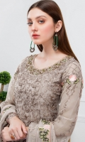 Embroidered Organza front with hand work and sequence – 30 inch Embroidered Organza back with sequence– 30  inch  Hand work neck patch Embroidered Organza sleeves – 1.25 Meter Embroidered Organza sleeves lace -1.25 Meter Embroidered Organza ghera lace – 1.5 Meter Embroidered Chiffon dupatta – 2.50 Meter Raw Silk trouser – 2.5 Meter  Embroidered Organza trouser Patches