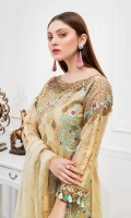 Embroidered Organza front with sequence – 30 inch Embroidered Organza back – 30 inch  Hand work neck patch  Embroidered Organza sleeves – 1.25 Meter Embroidered Tissue sleeves lace with pasting– 1.25 Meter Embroidered Tissue ghera lace – 1.5 Meter Embroidered Net dupatta – 2.50 Meter Raw Silk trouser – 2.5 Meter  Embroidered tissue trouser patches