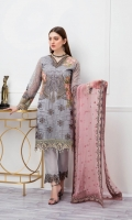 Embroidered Organza front with sequence – 30 inch Embroidered Organza back – 30 inch  Hand work neck patch Embroidered Organza sleeves – 1.25 Meter  Embroidered Organza sleeves lace with pasting -1.25 Meter Embroidered Organza ghera lace – 1.5 Meter Embroidered Net dupatta – 2.50 Meter Raw Silk trouser – 2.5 Meter  Embroidered Organza trouser patches