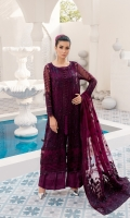 Embroidered Bamberg chiffon front  Embroidered organza front/back borders  Dyed plain Bamberg chiffon back  Embroidered Bamberg chiffon sleeves  Embroidered organza sleeves borders  Embroidered net dupatta  Embroidered net patches for dupatta  Dyed grip trousers