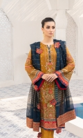 Embroidered Bamberg chiffon front  Embroidered grip front/back borders  Dyed plain Bamberg back  Embroidered Bamberg chiffon sleeves  Embroidered grip sleeves border  Woven jacquard dupatta  Embroidered grip borders for dupatta  Dyed grip trousers