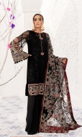 Embroidered Bamberg chiffon front  Embroidered grip front/back borders  Dyed plain Bamberg chiffon back  Embroidered Bamberg chiffon sleeves  Embroidered grip sleeves borders  Embroidered net dupatta  Dyed grip trousers