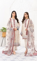 Embroidered Bamberg chiffon front  Embroidered organza neckline patch  Embroidered grip front/back borders  Embroidered Bamberg chiffon back  Embroidered Bamberg chiffon sleeves  Embroidered grip sleeves borders  Embroidered net dupatta  Embroidered organza trouser patch  Dyed grip trousers