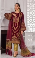 Embroidered velvet front Embroidered velvet front/back border Embroidered velvet back Embroidered velvet sleeves Embroidered sleeve velvet border Embroidered organza dupatta pallu Plain organza dupatta Dyed Jacquard trouser