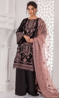 Embroidered velvet front Embroidered velvet front/back border Embroidered velvet back Embroidered velvet sleeves Embroidered sleeve velvet border Embroidered grip dupatta border Embroidered organza dupatta patches Embroidered organza dupatta Dyed plain grip trouser