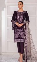 Embroidered velvet front Embroidered velvet front/back border Embroidered velvet back Embroidered velvet sleeves Embroidered sleeve velvet border Embroidered grip dupatta border Embroidered organza dupatta Dyed plain grip trouser