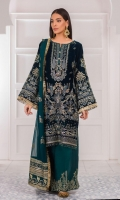 Embroidered velvet front Embroidered velvet front/back border Plain velvet back Embroidered velvet sleeves Embroidered sleeve velvet border Embroidered grip dupatta borders Embroidered Bamberg chiffon dupatta Embroidered grip trouser