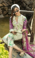 Embroidered Lawn Shirt with Digital Printed back  Digital Printed Chiffon Dupatta  Dyed Cambric Trouser