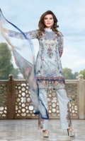 Digital Printed Shirt Digital Printed Chiffon Dupatta Cotton Dyed Trouser Embroidered Neckline Patch Embroidered Organza Border Embroidered Trouser Motifs