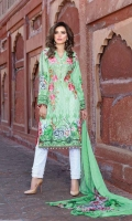 Digital Printed Embroidered Front Digital Printed Back and Sleeves Digital Printed Chiffon Dupatta Embroidered Trouser