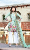 Digital Printed Embroidered Front Digital Printed Back and Sleeves Embroidered Net Dupatta Embroidered Trouser