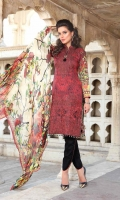 Digital Printed Embroidered Front Digital Printed Back and Sleeves Digital Chiffon Printed Dupatta Cotton Dyed Trouser