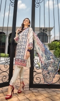 Lawn Embroidered Shirt  Embroidered Organza Neck Patti  Embroidered Organza Border For Front  Embroidered Organza Border For Back  Embroidered Organza Border For Sleeves  White Printed Trouser  Digital Printed Chiffon Dupatta