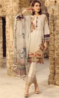 Digital Printed Embroidered Front   Digital Printed Back and Sleeves   Embroidered Organza Motif For Front   Embroidered Organza Border For Front  Embroidered Organza Border For Trouser   Dyed Printed Trouser   Digital Printed Chiffon Dupatta