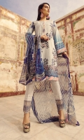Digital Printed Embroidered Front   Digital Printed Back and Sleeves   Embroidered Organza Border For Trouser   White Printed Trouser   Digital Printed Chiffon Dupatta