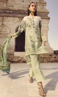 Digital Printed Embroidered Front   Digital Printed Back and Sleeves   Embroidered Organza Border For Trouser   Dyed Trouser   Digital Printed Chiffon Dupatta