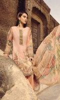 Digital Printed Embroidered Front   Digital Printed Back and Sleeves   Embroidered Organza Neck Patti   Embroidered Organza Border For Trouser   Dyed Trouser   Digital Printed Chiffon Dupatta