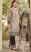 Shirt 3.25 yards Trouser 2.5 meter Dupatta 2.5 yards DIGITAL PRINTED EMBROIDERED FRONT DIGITAL PRINTED BACK AND SLEEVES ORGANZA EMBROIDERED FRONT BORDER ORGANZA EMBROIDERED SLEEVES BORDER ORGANZA EMBROIDERED TROUSER BORDER DIGITAL PRINTED CHIFFON DUPATTA DYED TROUSER